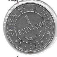 *bolivia 1 Boliviano 2010 Km 217 Unc - Bolivie
