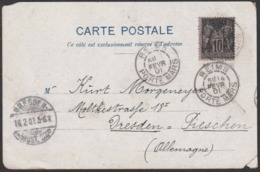 Année 1901 - N° 103 Type Sage - Carte Exposition Universelle De Paris 1900 - Obl. Reims 14-02-1901 (voir Scan Pour état) - 1877-1920: Periodo Semi Moderno