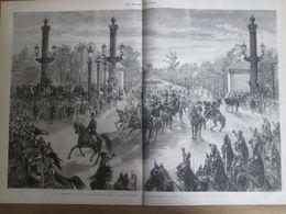 Gravure  1873 IRAN   Arrivé Shah D IRAN  PERSE Paris RECEPTION SUR LES CHAMPS-ELYSEES - Estampes & Gravures