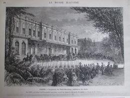 Gravure  1873 IRAN   Arrivé Shah D IRAN  PERSE Paris RECEPTION  Au Palais Du PETIT BOURBON    Résidence Du SHAH - Estampes & Gravures