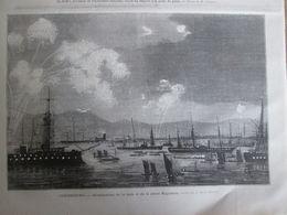 Gravure  1873 Cherbourg    Illumination    De La Rade    Et De La Place Napoléon - Estampes & Gravures