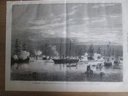 Gravure  1873 Cherbourg     LE SHAH D IRAN   De Perse  S M NASSER ED DIN  Quite Le Port Militaire - Estampes & Gravures