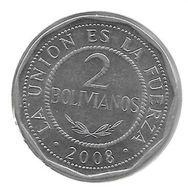 *bolivia 2 Bolivianos  2008 Km 206.2 Unc - Bolivie