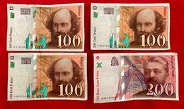 Lot De 4 Billets TBE 100 FRANCS  Et 200 FRANCS (neuf) - 1992-2000 Aktuelle Serie