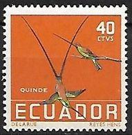 Ecuador - Mint Hinged 1958 :Black-tailed Trainbearer   - Lesbia Victoriae  +Sword-billed Hummingbird - Ensifera Ensifera - Colibris