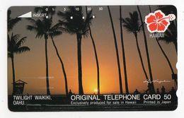 HAWAII TELECARTE JAPON PLAGE DE WAIKIKI COUCHER DE SOLEIL PALMIER - Hawaï
