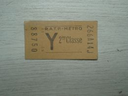 Ancien Ticket De Métro R.A.T.P. 2° Classe - Subway