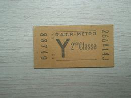 Ancien Ticket De Métro R.A.T.P. 2° Classe - Europe