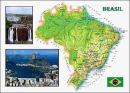 Brazil Country Map New Postcard Brasilien Landkarte AK - Otros