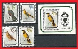 104. SOUTH AFRICA 1990 SET/4 STAMP + M/S  BIRDS  MNH - South Africa (1961-...)