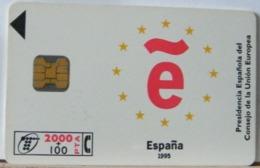 SPAGNA - 2000 PESETAS + 100  - CHIP PICCOLO ESPANA UNIONE EUROPEA 1995 - Espagne
