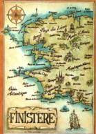 CPM - FINISTERE - Carte Géo - ILLUSTRATION Loïc TREHIN ... - Edition YR.Caoudal - France