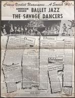 Affiche Ballet Jazz, The Savage Dancers, 42,5/55,5 Cm. Voir L'état De L'affiche - Affiches & Posters