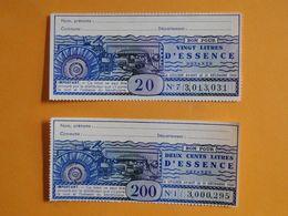 BONS APPROVISIONNEMENT 1960 -- 2 Bons Pour 20 & 200 Litres D'Essence Détaxée - A Utiliser Avant Le 31 Décembre 1960 - Notgeld