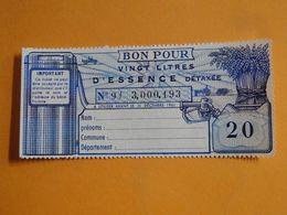 BON APPROVISIONNEMENT 1961 -- 1 Bon Pour 20 Litres D'Essence Détaxée - A Utiliser Avant Le 31 Décembre 1961 - Notgeld