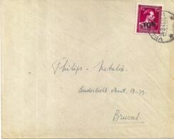 724 N-VELDEGEM- SCHRIJVEN BESTEMMING BRUXELLES 23.9.1946-TYPE OPDRUK 198 BRUGGE1 - 1946 -10 %