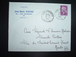 LETTRE TP M. DE CHEFFER 0,30 OBL.18-11 1968 LES EPESSES VENDEE (85) GARAGE Jean-Marie RIVIERE - Marcofilia (sobres)