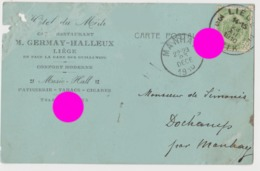 Liège 1910 Hôtel Restaurant GERMAY HALLEUX Carte Correspondance De Manhay Vers Lg - Liege