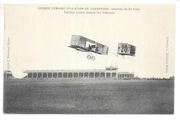 Cpa..Reims..grande Semaine D'aviation De Champagne (journée Du 26 Aout 1909)..Paulhan Passe Devant Les Tribunes.. - Aviateurs