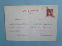 NANTES -- FRONTIGNAN -- Entier Postal 1942 Pétain 1,20F Oblitéré Cachet Nantes Gare - Entiers Postaux