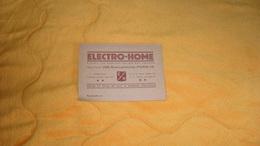 CARTE PUBLICITAIRE PUBLICITE ELECTRO - HOME PARIS 15e..VENTE EN GROS DE TOUT LE MATERIEL ELECTRIQUE.. - Advertising