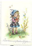 Petite Fille Et Sa Poupée. Signée Mariapia - Otros Ilustradores