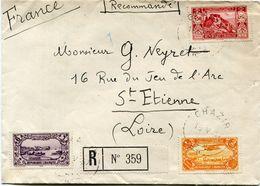 GRAND LIBAN LETTRE RECOMMANDEE DEPART GHAZIR 15 V 37 POUR LA FRANCE - Briefe U. Dokumente