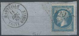 Lot N°56740   N°22/fragment, Oblit GC étranger 5055 Philippeville, (Constantine), Cachet De Marseille BOITE MOBILE - 1862 Napoléon III