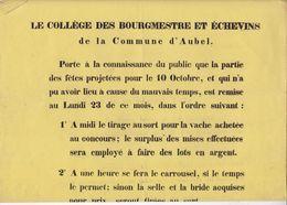 AUBEL 1848 Affiche A3 Report De La Fête Agricole Du 10 Octobre 1848 En Une Seule Pièce Bon état - Historical Documents
