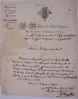 CARPENTRAS, Lettre Du Maire Demandant L'aide De L'armée Pour Le Transport De La Croix De Mission - Autógrafos