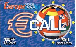 CARTE-PREPAYEE-WWA-100FF/15,24€-€CALL-EUROPE-Plastic FIN--Exp 30/09/2002-Gratté-TBE-RARE     - - France