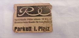 Vintage  CINO TICKET REX Parkett 1. Platz   '60s. - Tickets D'entrée