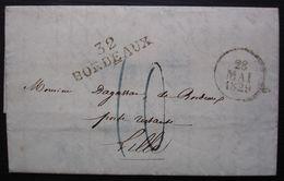 Bordeaux 1829 Marque Noire 32/ Bordeaux 39 X12 Sur Une Lettre En Poste Restante Pour Lille - 1801-1848: Précurseurs XIX