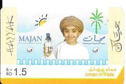 CARTE-PREPAYEE-GSM-OMAN-RECHARGE 1,5 RO-ENFANT Et BOUTEILLE EAU MINERALE-Exp31/12/2020-TBE/RARE - Oman