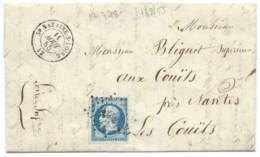 N° 14 BLEU NAPOLEON SUR LETTRE / ST NAZAIRE SUR LOIRE POUR LES COUETS / 11 AOUT 1855 - 1849-1876: Classic Period