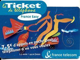 TICKET FRANCE TELECOM FRANCE EASY 7.5 €UROS SCOOTER VESPA - Frankreich