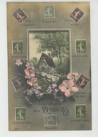 """TIMBRES - Jolie Carte Fantaisie Fleurs Et Timbres """"LANGAGE DES TIMBRES """" - Stamps (pictures)"""