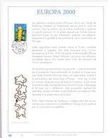 Exemplaire N°1 Feuillet Tirage Limité 500 Exemplaires Frappe Or Fin 23 Carats 2922 Europa 2000 - Feuillets