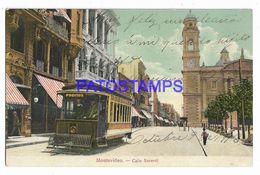 137201 URUGUAY MONTEVIDEO STREET CALLE SARANDI & TRANVIA TRAMWAY POSTAL POSTCARD - Uruguay
