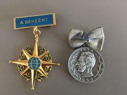Lot De 2 Medailles Pour La Paix  Dont Une En Argent Conseil Mondial Pour La Paix 1949 1959 Et Une Hongroise  A .BEKEERT - Sonstige Länder