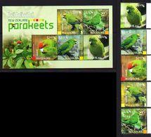New Zealand 2020 Fauna Birds Parrots SS + 5v MNH - Pappagalli & Tropicali