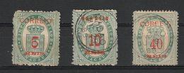 Macau Macao 1887 Fiscal Stamps Surcharge Set. Mint & Used - Macao