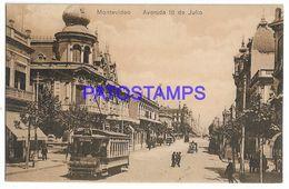 137207 URUGUAY MONTEVIDEO AVENIDA 18 DE JULIO & TRANVIA TRAMWAY POSTAL POSTCARD - Uruguay