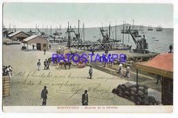137220 URUGUAY MONTEVIDEO MUELLES DE LA ADUANA & SHIP POSTAL POSTCARD - Uruguay