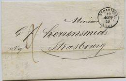 CD24 - Marque Postale -  Hérault - BEDARIEUX - Sur Lettre De Mr FABREGAT  Sans TP Cad. 19 AOUT 1849  -Taxe Man  - TTB - - 1849-1876: Classic Period