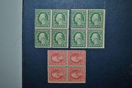Etats-Unis 1912 Blocs De 4 MNH Papier Sale - United States