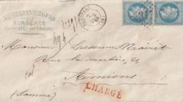 1868 - Enveloppe De SURGERES Chargée GC 3471 Sur Paire  N° 22 Pour AMIENS  Au Dos Cachet Rouge - 1849-1876: Klassik