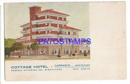 137227 URUGUAY MONTEVIDEO CARRASCO PUBLICITY COTTAGE HOTEL DAMAGED POSTAL POSTCARD - Uruguay