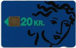 Denmark - Danmønt - KTAS Woman (blue) - DB006 - 20Kr. Exp. 09.1993, 1.250ex, Used - Danemark