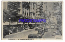 137245 URUGUAY MONTEVIDEO AVENIDA 18 DE JULIO TRANVIA TRAMWAY & AUTOMOBILE CAR SPOTTED POSTAL POSTCARD - Uruguay